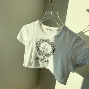 """Vintage Style """"Middle Finger"""" White Graphic Tee"""